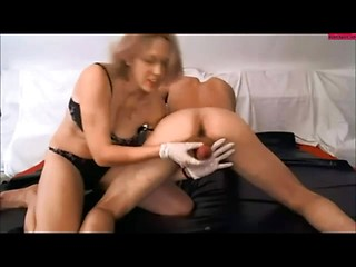 Mature mom in white gloves makes professional...