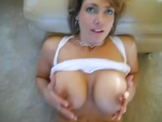 Very hot MILF with big tits takes cum load in...